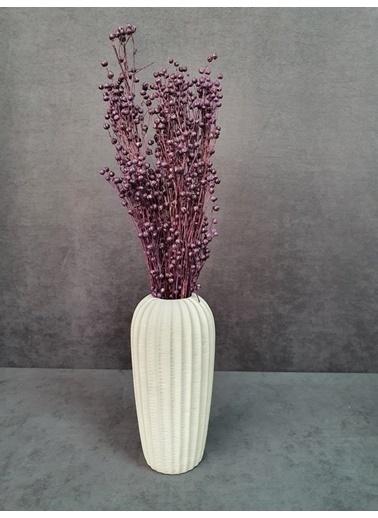 Kuru Çiçek Deposu Kuru Çiçek Keten Otu Demet 45 Cm Bordo  Mor